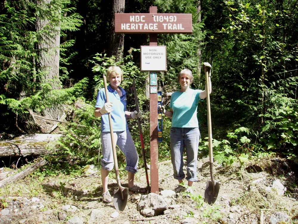 Installing Directional Sign - HBC Heritage Trail