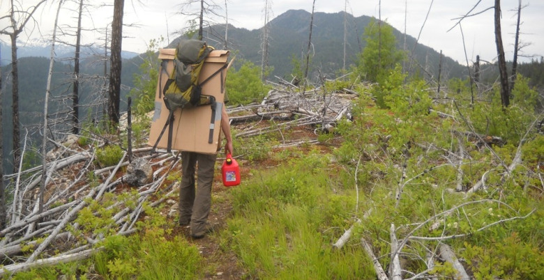 Tikwalus Heritage Trail - Anders Carries New Interpretive Signs Along Bluffs Route - June 2012.