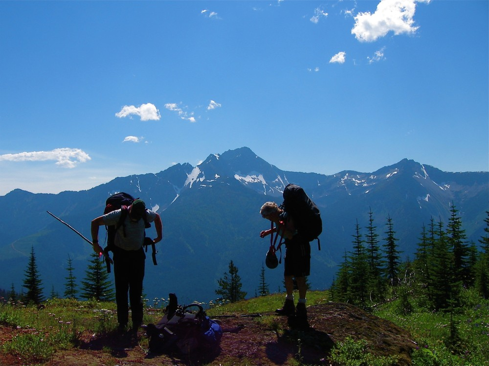 Backpackers on Mount Davis - HBC Historic Trail