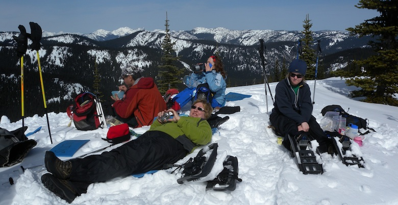 Kicked back snowshoers