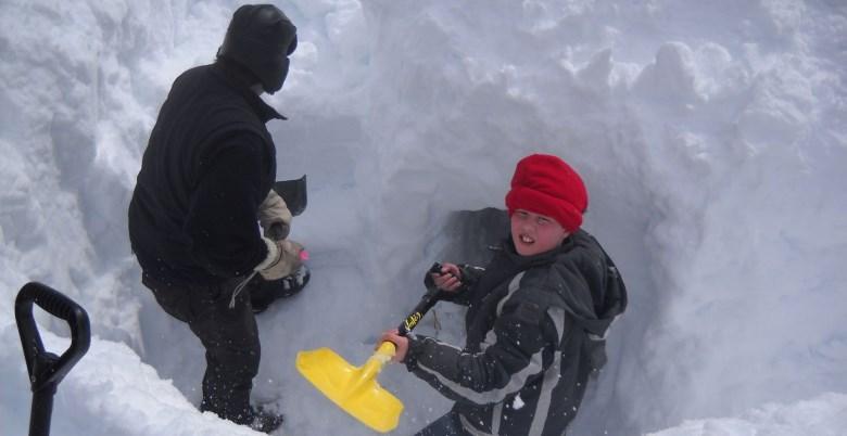 Family Snowshoe Kids Shovelling