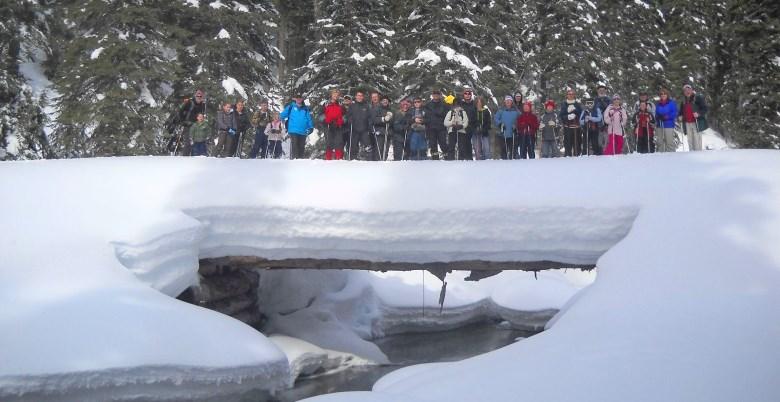 Family Snowshoe Snow Bridge